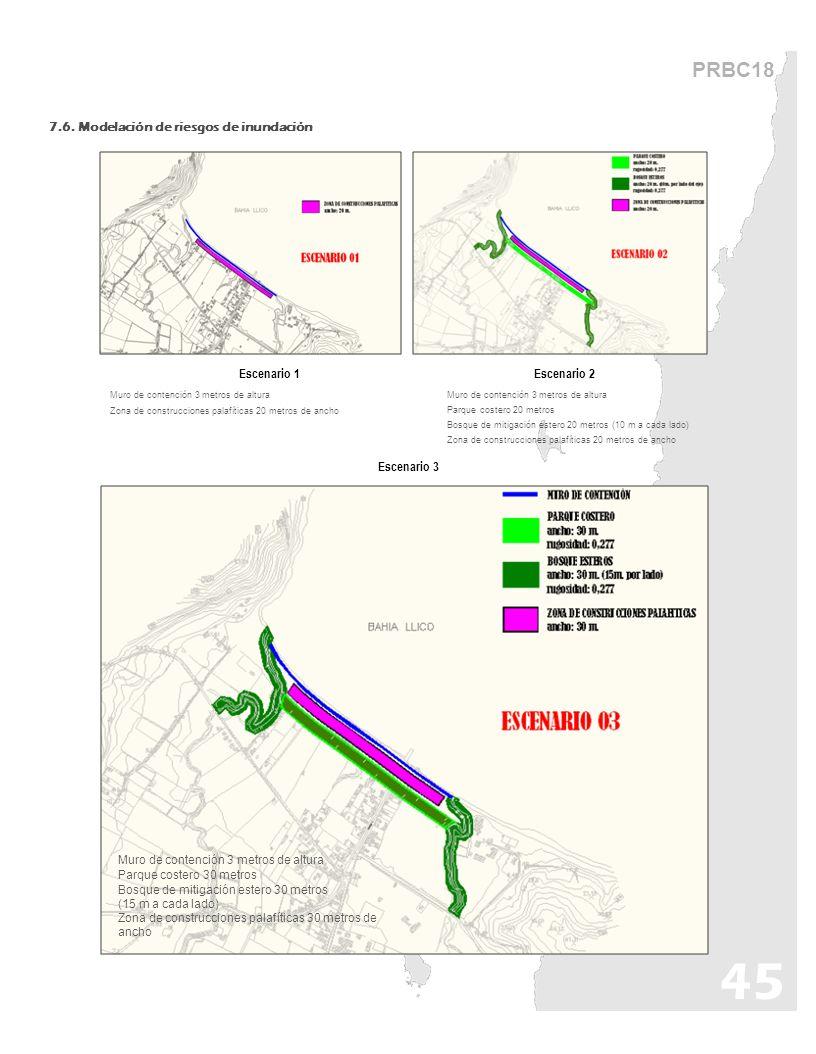 45 PRBC18 7.6. Modelación de riesgos de inundación Escenario 1