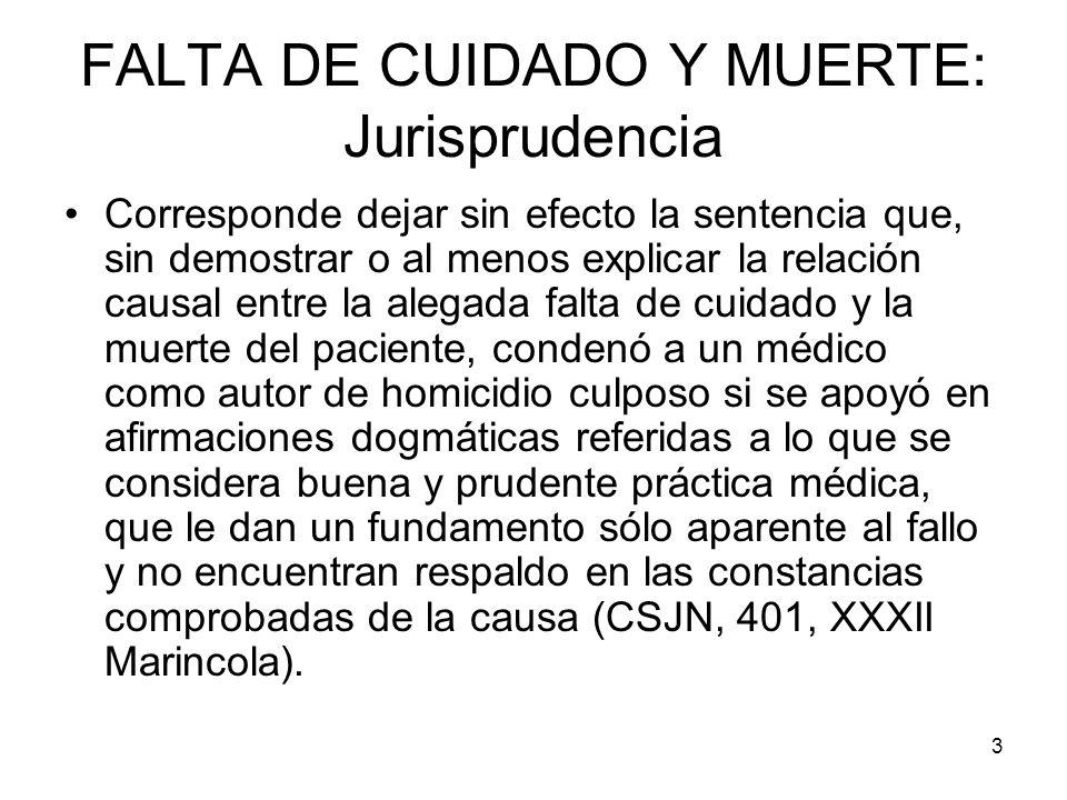 FALTA DE CUIDADO Y MUERTE: Jurisprudencia
