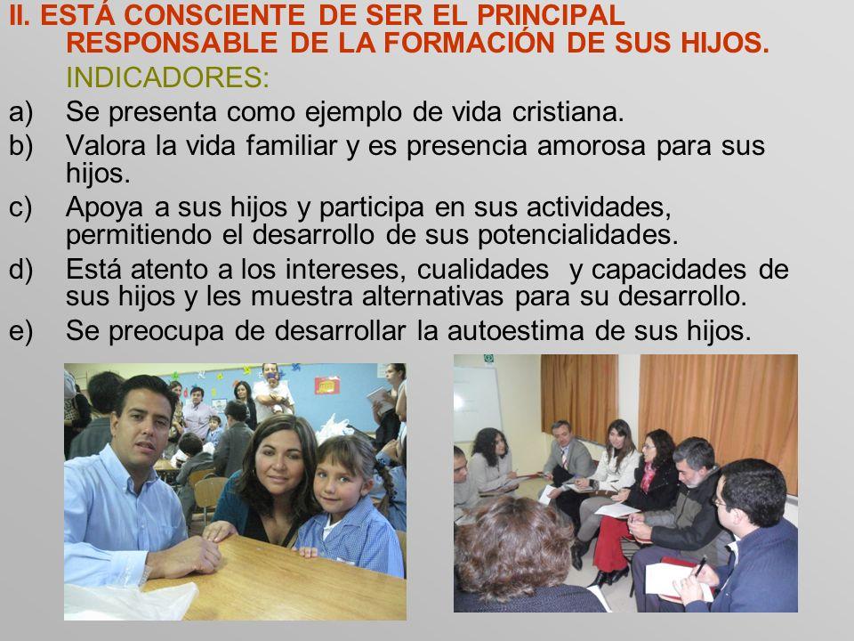 II. ESTÁ CONSCIENTE DE SER EL PRINCIPAL RESPONSABLE DE LA FORMACIÓN DE SUS HIJOS.