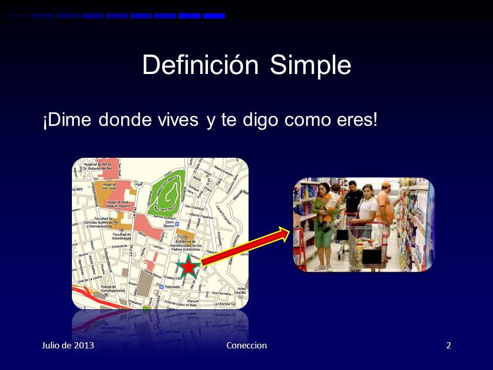 Definición Simple ¡Dime donde vives y te digo como eres! Julio de 2013