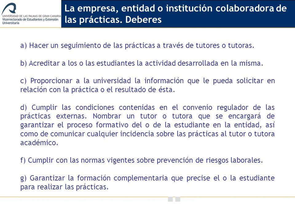 La empresa, entidad o institución colaboradora de las prácticas