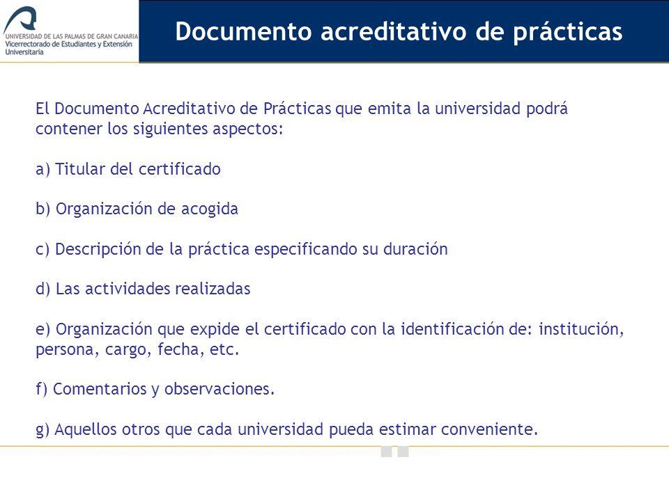Documento acreditativo de prácticas