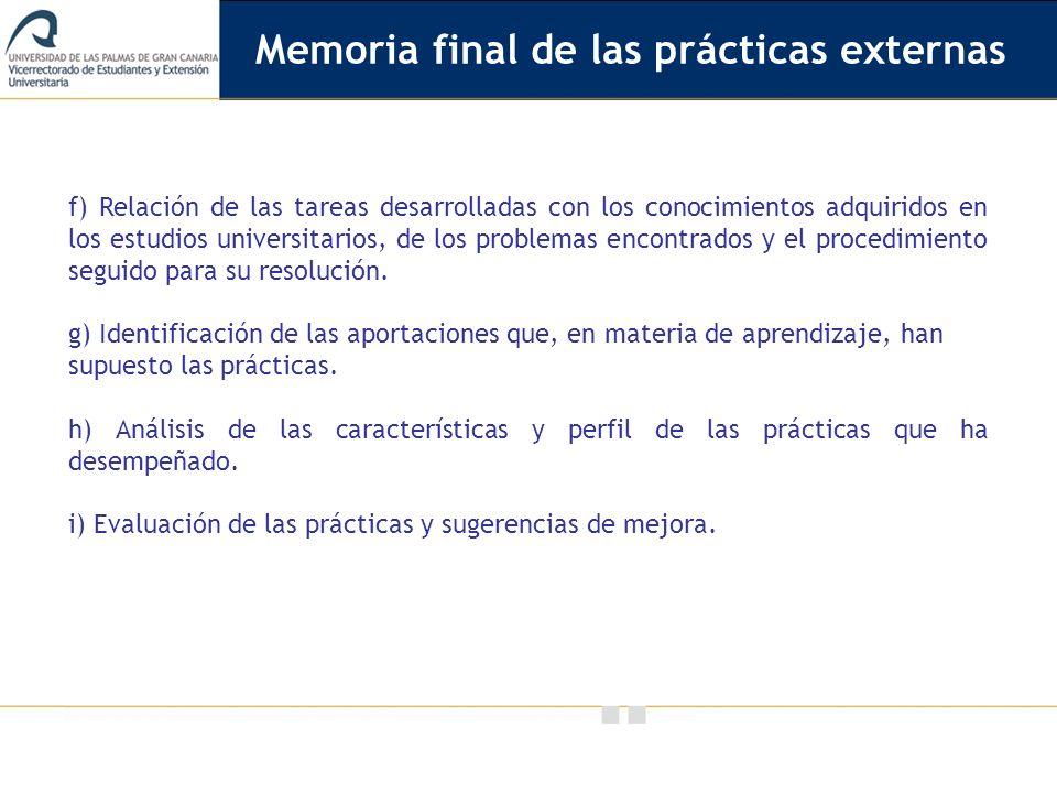 Memoria final de las prácticas externas