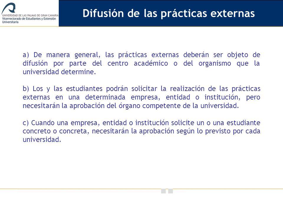 Difusión de las prácticas externas