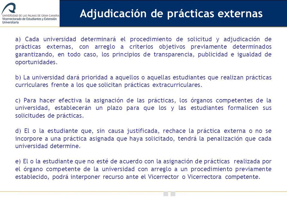 Adjudicación de prácticas externas