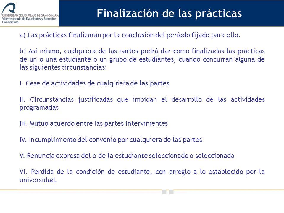 Finalización de las prácticas