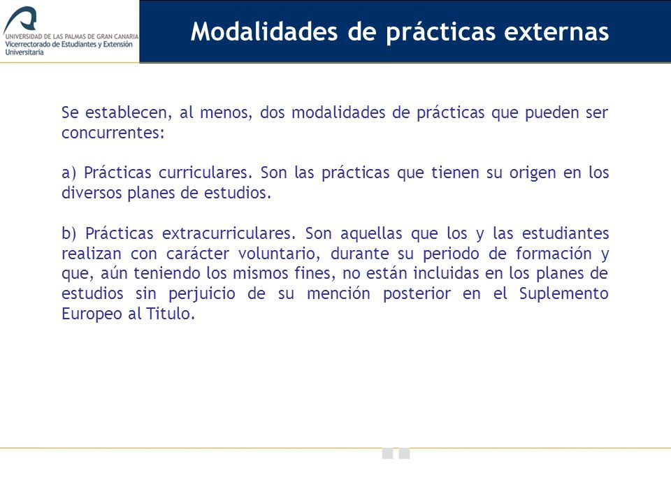 Modalidades de prácticas externas