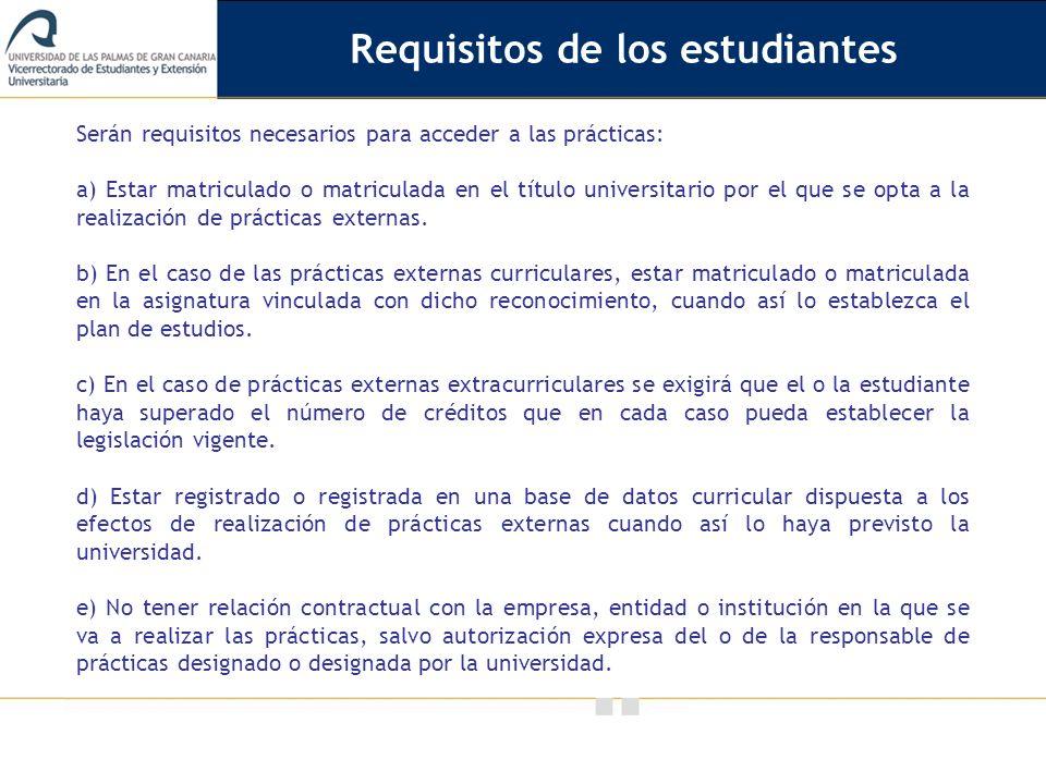 Requisitos de los estudiantes