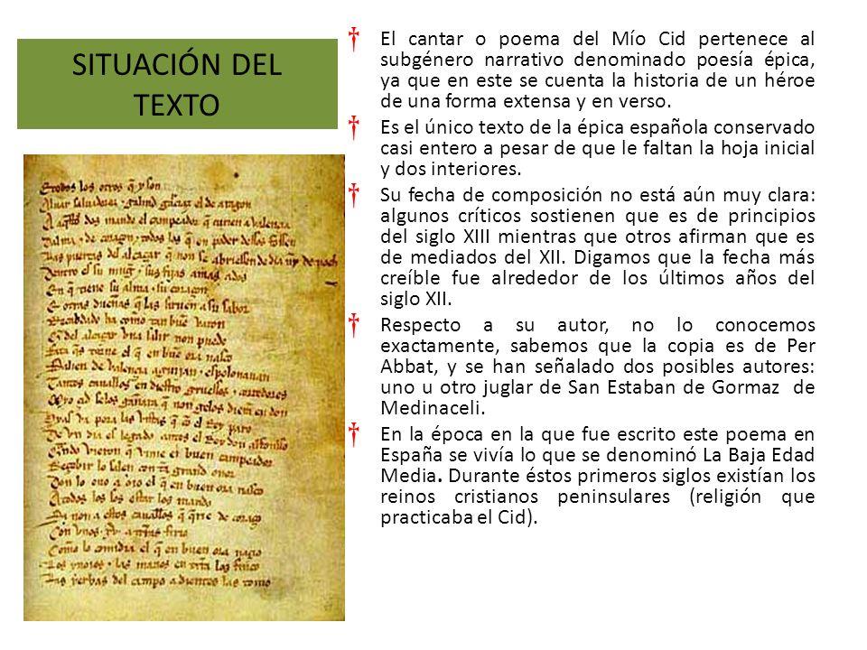 El cantar o poema del Mío Cid pertenece al subgénero narrativo denominado poesía épica, ya que en este se cuenta la historia de un héroe de una forma extensa y en verso.