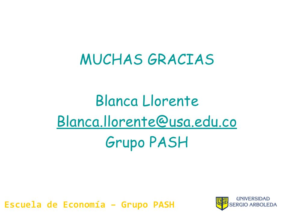 Escuela de Economía – Grupo PASH
