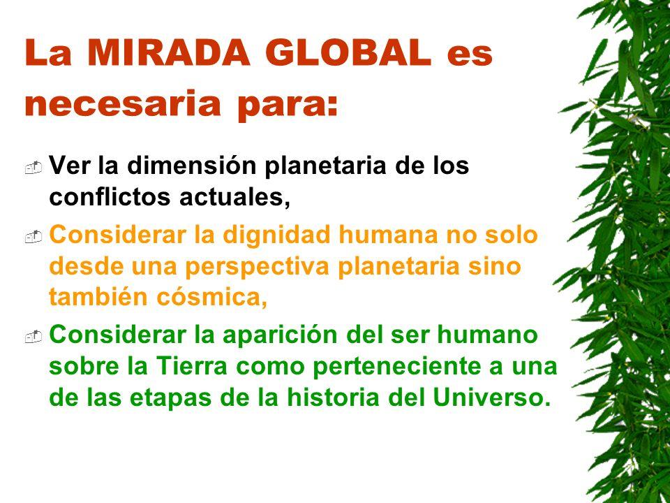 La MIRADA GLOBAL es necesaria para:
