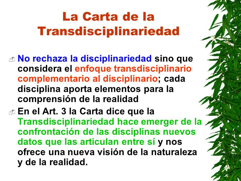 La Carta de la Transdisciplinariedad