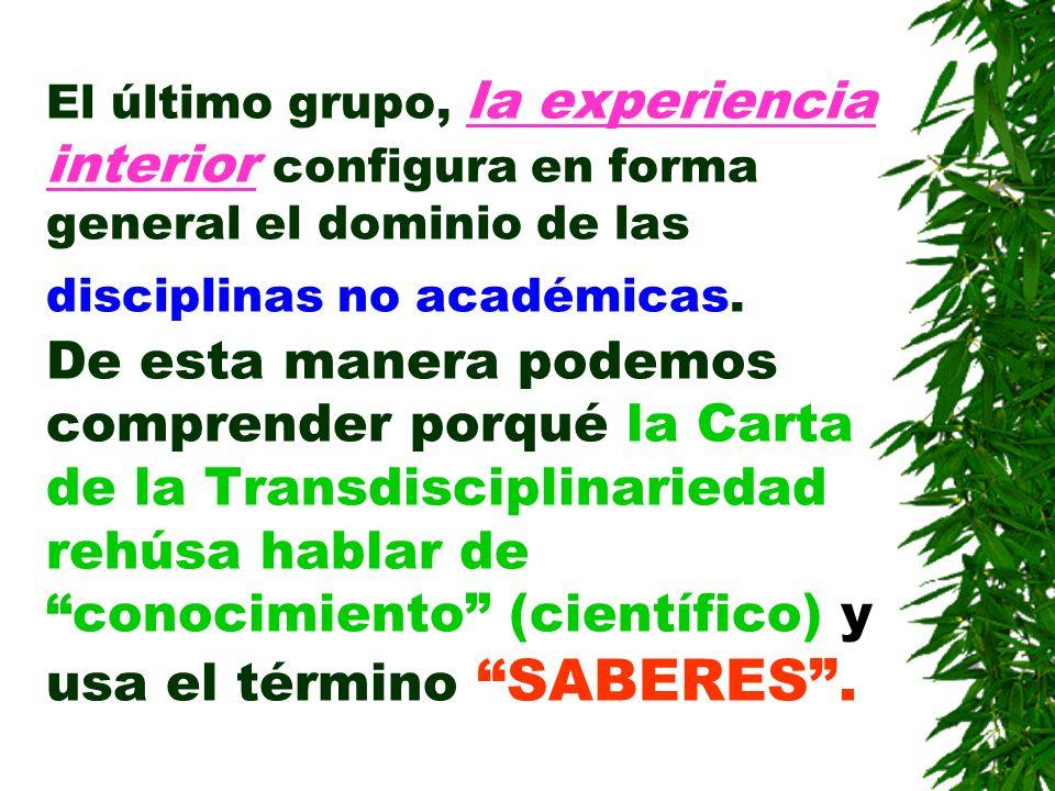 El último grupo, la experiencia interior configura en forma general el dominio de las disciplinas no académicas.