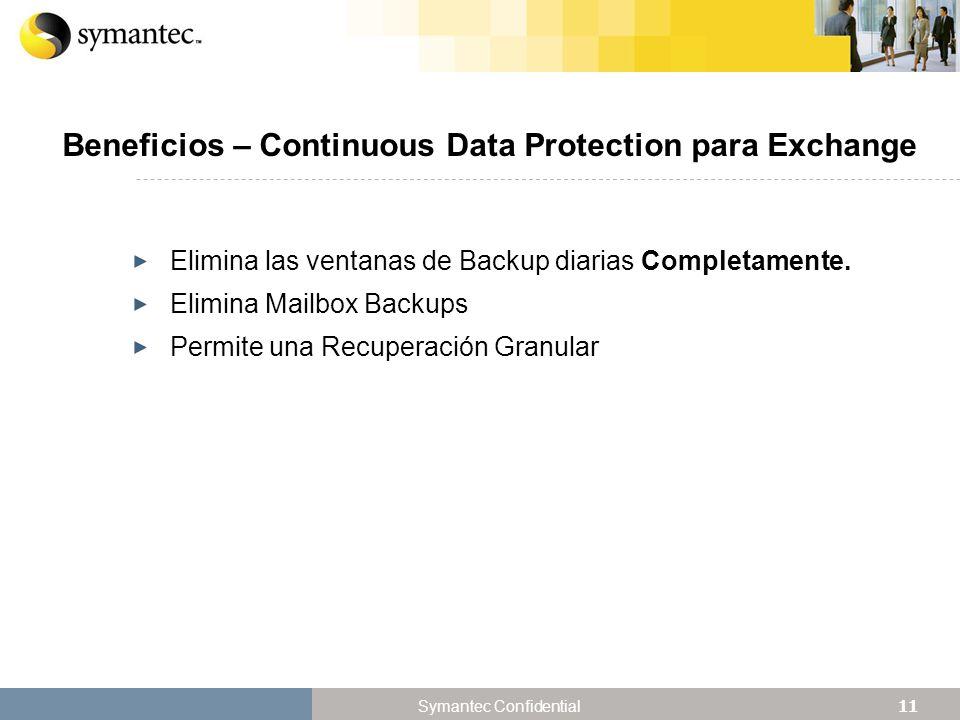 Beneficios – Continuous Data Protection para Exchange