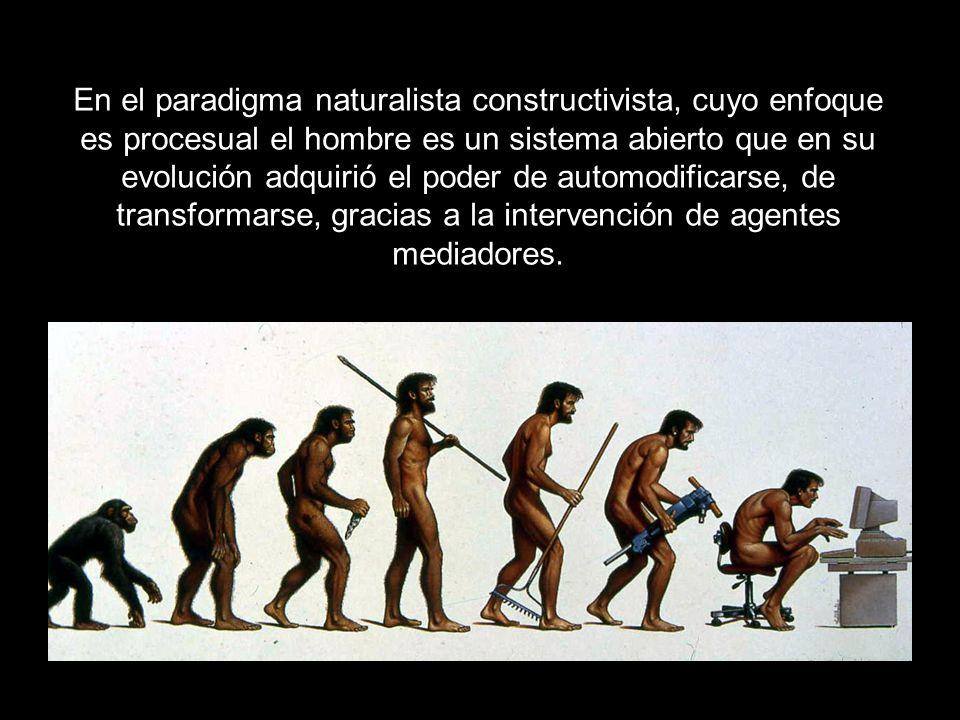 En el paradigma naturalista constructivista, cuyo enfoque es procesual el hombre es un sistema abierto que en su evolución adquirió el poder de automodificarse, de transformarse, gracias a la intervención de agentes mediadores.