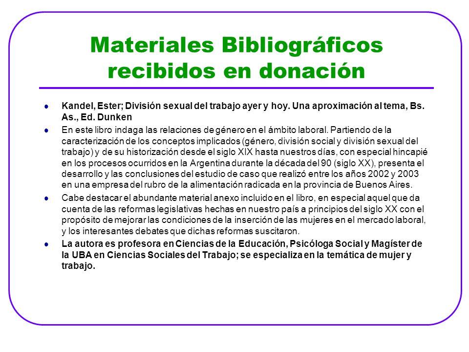 Materiales Bibliográficos recibidos en donación
