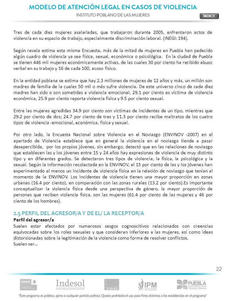 2.5 PERFIL DEL AGRESOR/A Y DE EL/ LA RECEPTOR/A