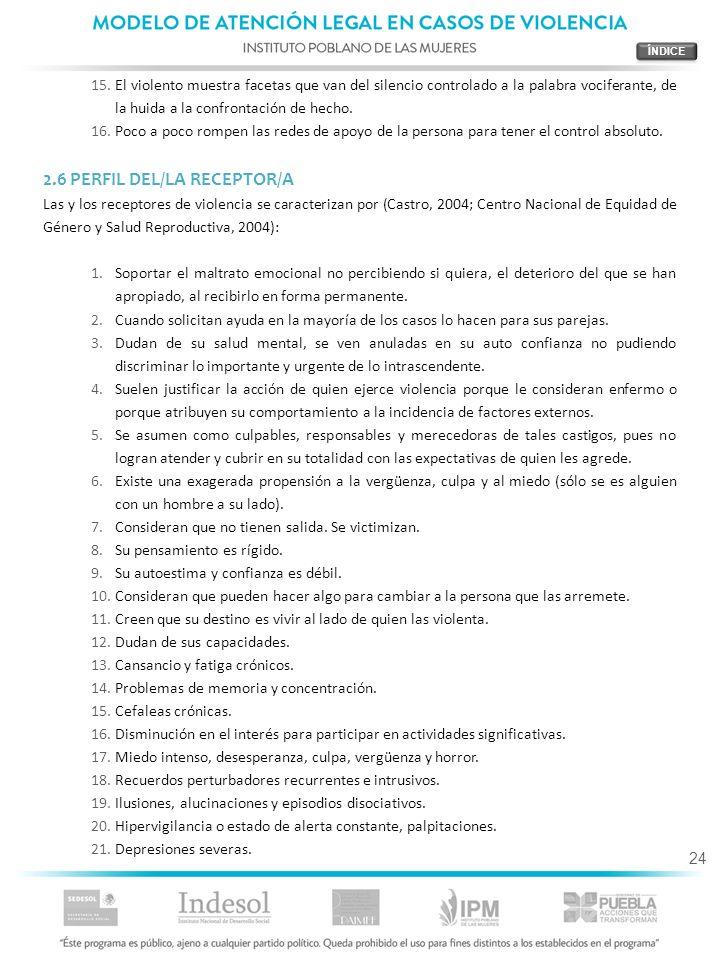 2.6 PERFIL DEL/LA RECEPTOR/A