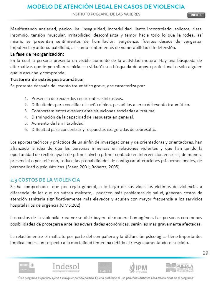 2.9 COSTOS DE LA VIOLENCIA La fase de reorganización: