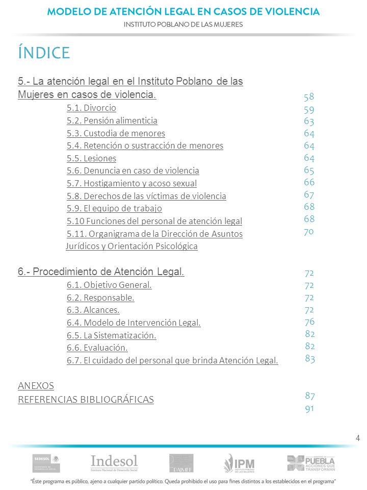 ÍNDICE 5.- La atención legal en el Instituto Poblano de las Mujeres en casos de violencia. 5.1. Divorcio.