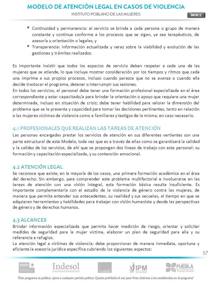 4.1 PROFESIONALES QUE REALIZAN LAS TAREAS DE ATENCIÓN