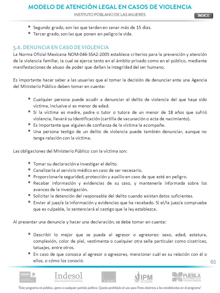 5.6. DENUNCIA EN CASO DE VIOLENCIA