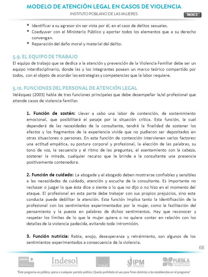 5.10. FUNCIONES DEL PERSONAL DE ATENCIÓN LEGAL