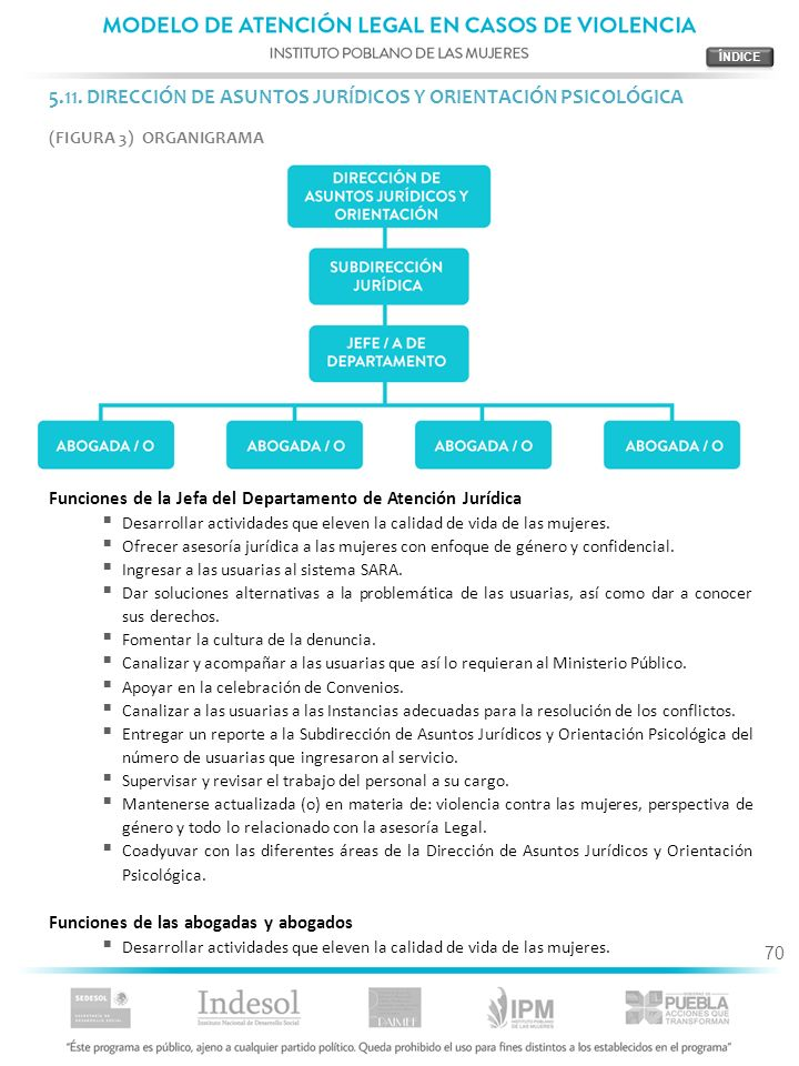 5.11. DIRECCIÓN DE ASUNTOS JURÍDICOS Y ORIENTACIÓN PSICOLÓGICA