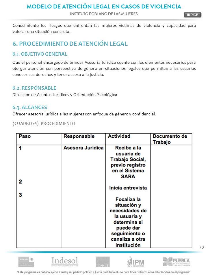 6. PROCEDIMIENTO DE ATENCIÓN LEGAL