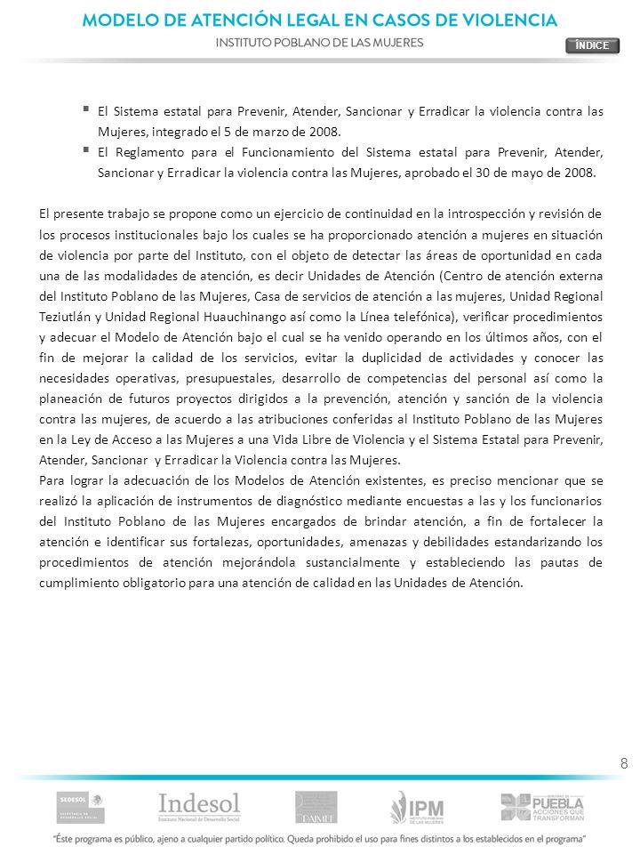 ÍNDICEEl Sistema estatal para Prevenir, Atender, Sancionar y Erradicar la violencia contra las Mujeres, integrado el 5 de marzo de 2008.
