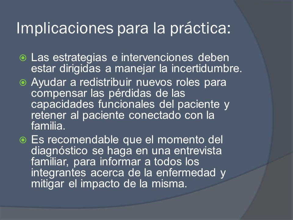 Implicaciones para la práctica: