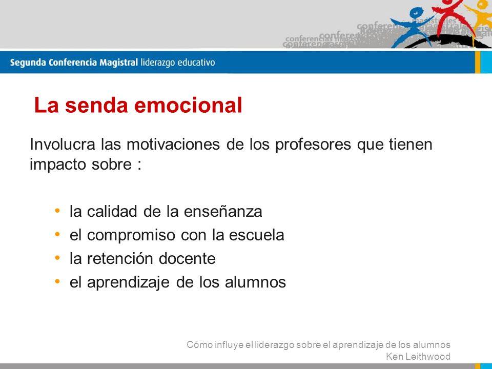 La senda emocional Involucra las motivaciones de los profesores que tienen impacto sobre : la calidad de la enseñanza.
