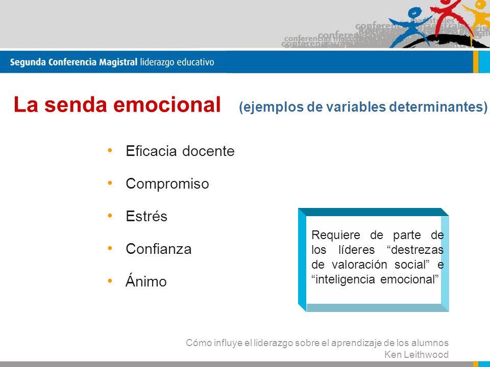 La senda emocional (ejemplos de variables determinantes)