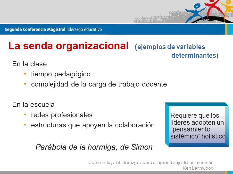 La senda organizacional (ejemplos de variables determinantes)