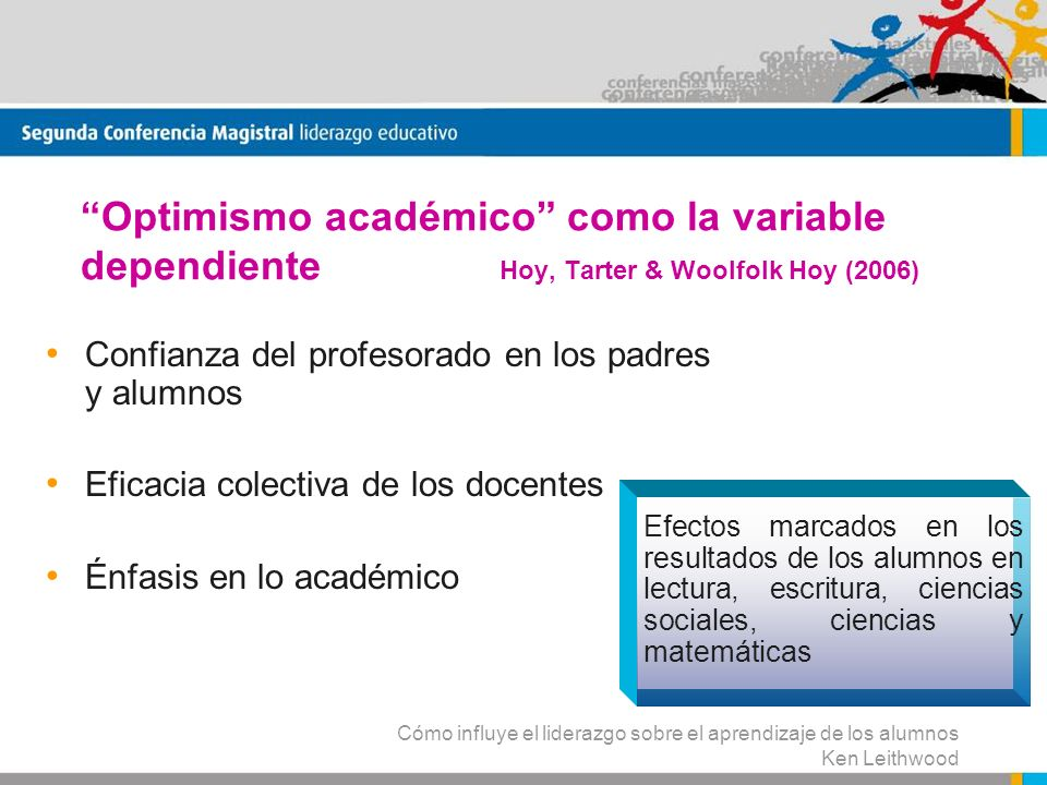 Optimismo académico como la variable dependiente