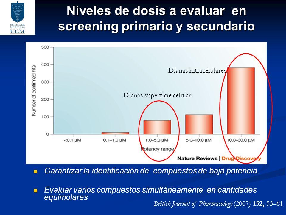 Niveles de dosis a evaluar en screening primario y secundario