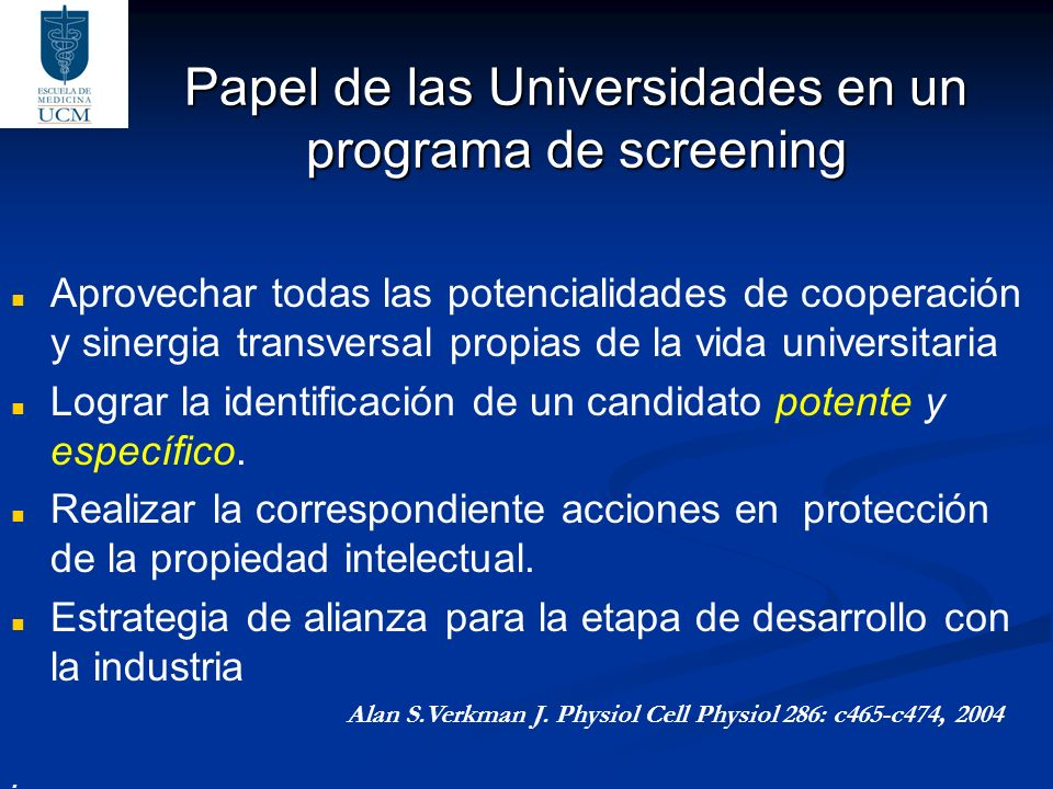 Papel de las Universidades en un programa de screening