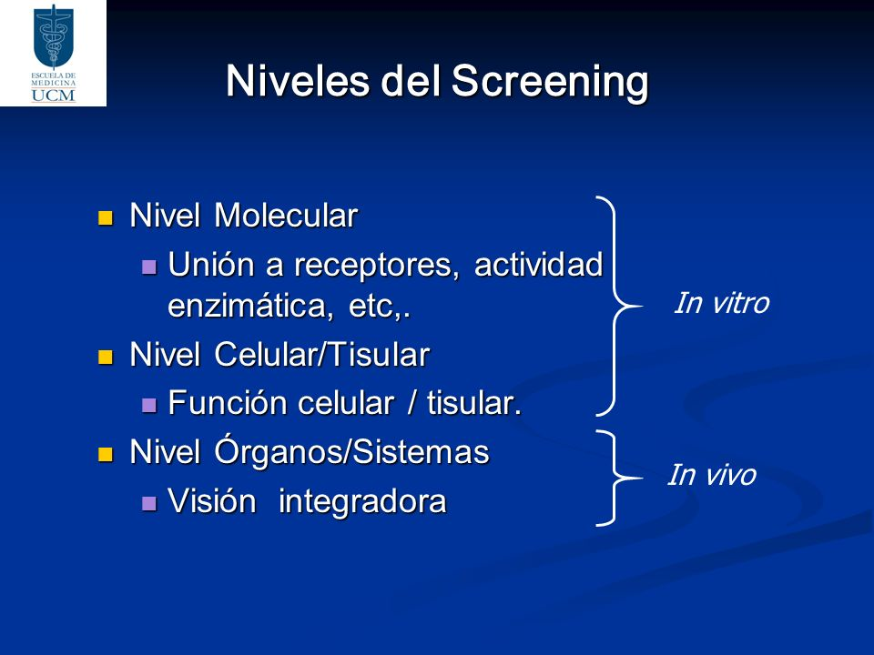 Niveles del Screening Nivel Molecular