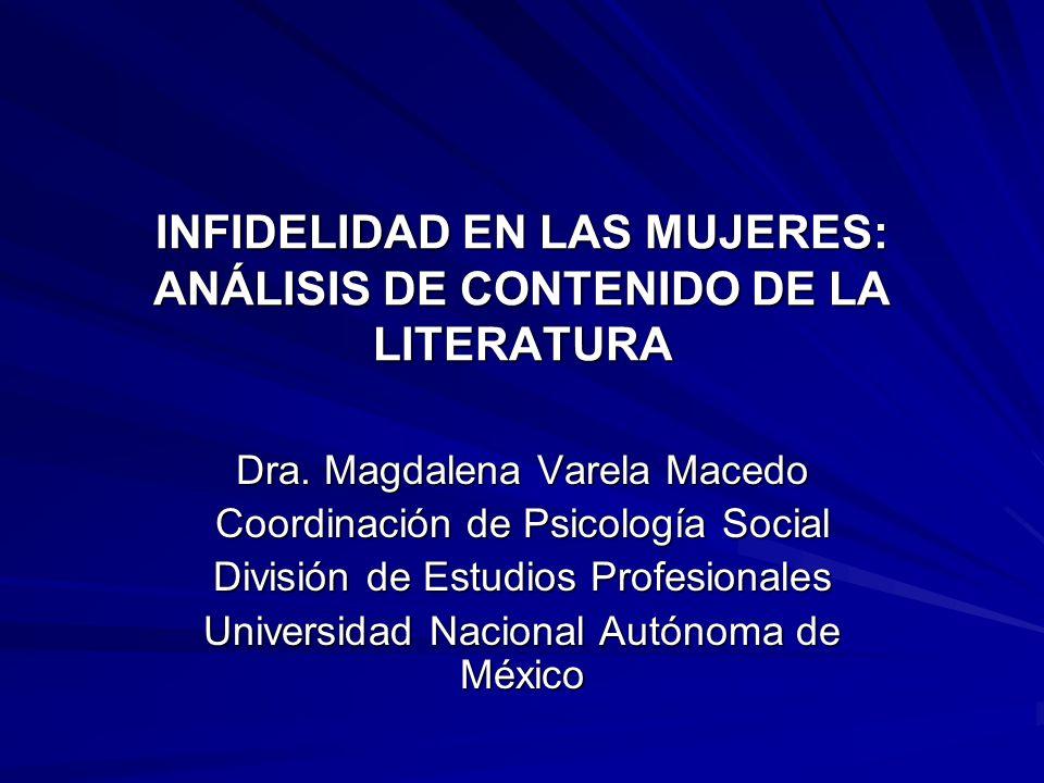 INFIDELIDAD EN LAS MUJERES: ANÁLISIS DE CONTENIDO DE LA LITERATURA