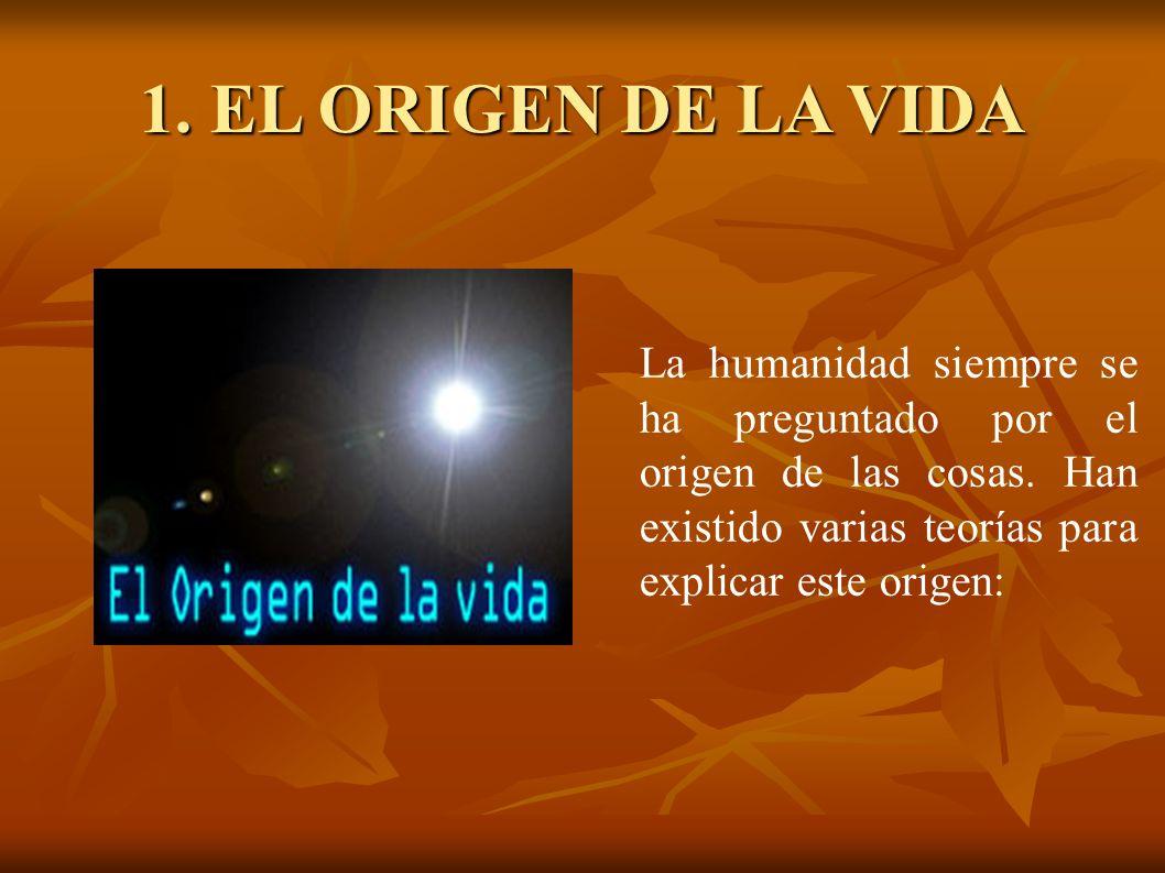 1. EL ORIGEN DE LA VIDA La humanidad siempre se ha preguntado por el origen de las cosas.