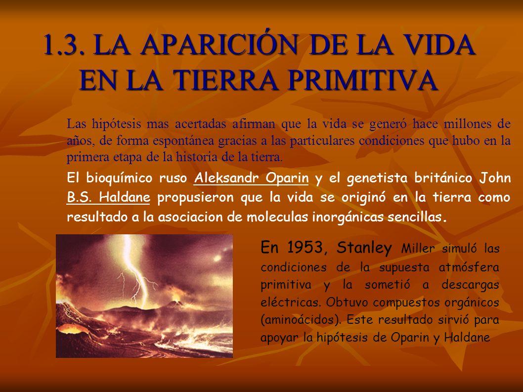 1.3. LA APARICIÓN DE LA VIDA EN LA TIERRA PRIMITIVA