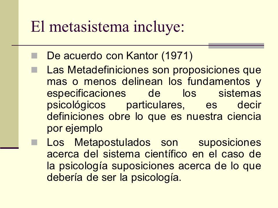 El metasistema incluye: