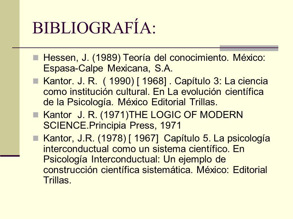 BIBLIOGRAFÍA: Hessen, J. (1989) Teoría del conocimiento. México: Espasa-Calpe Mexicana, S.A.