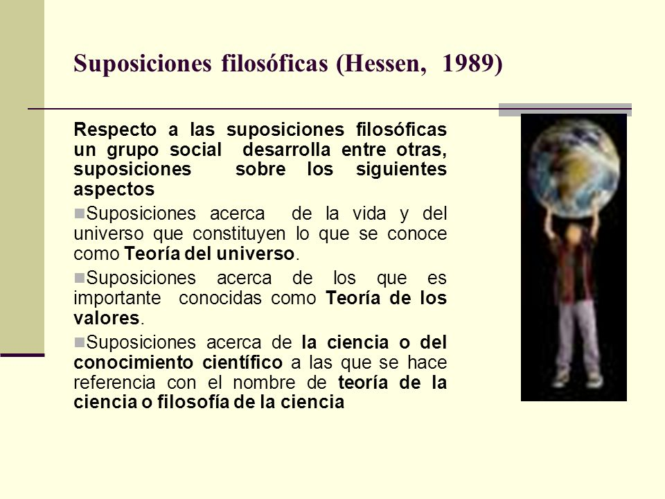 Suposiciones filosóficas (Hessen, 1989)
