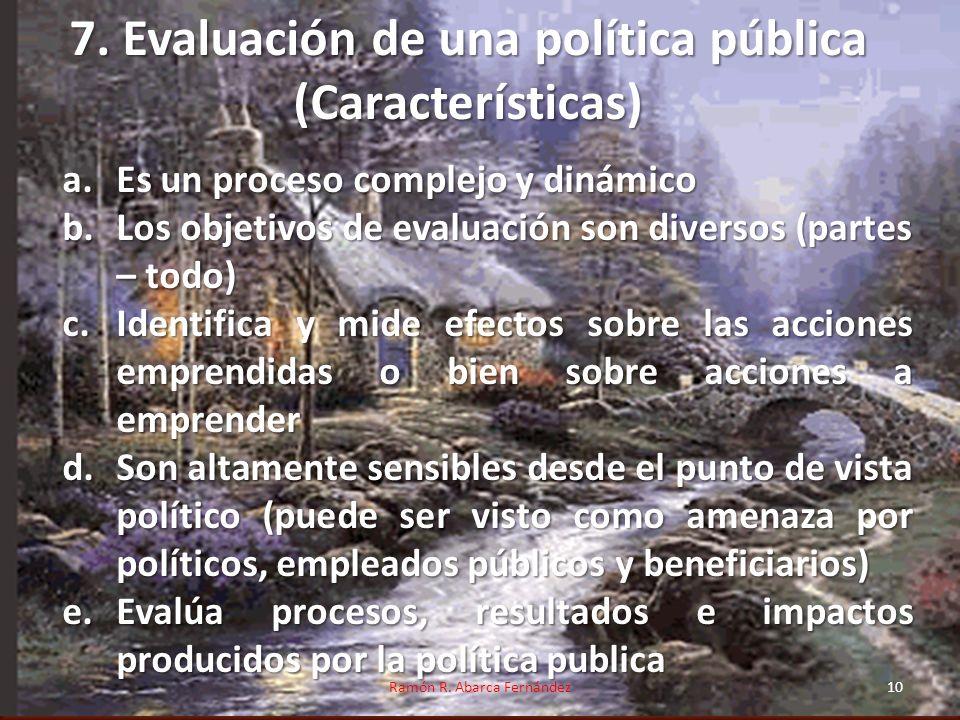 7. Evaluación de una política pública (Características)