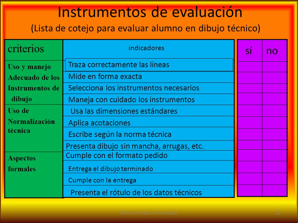 (Lista de cotejo para evaluar alumno en dibujo técnico)