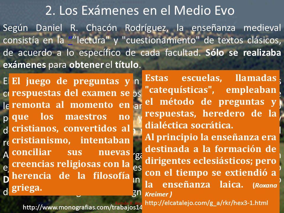 2. Los Exámenes en el Medio Evo