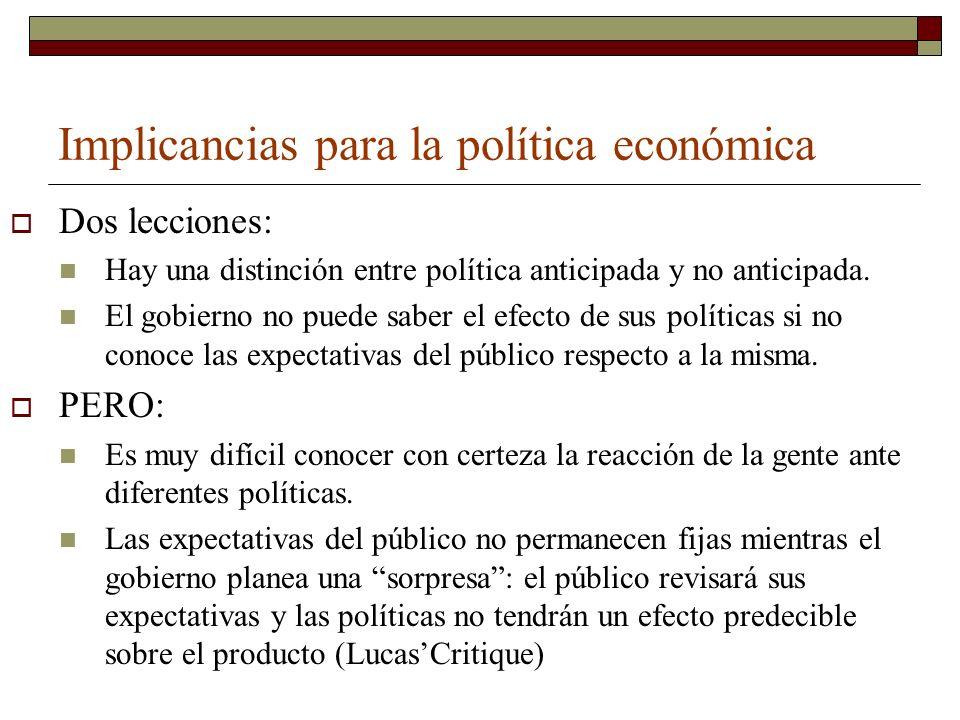 Implicancias para la política económica
