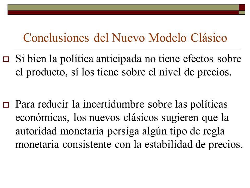 Conclusiones del Nuevo Modelo Clásico