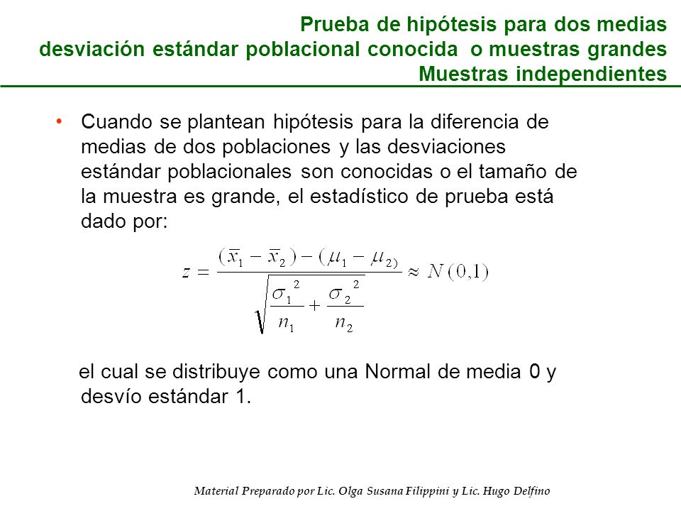 Prueba de hipótesis para dos medias desviación estándar poblacional conocida o muestras grandes Muestras independientes